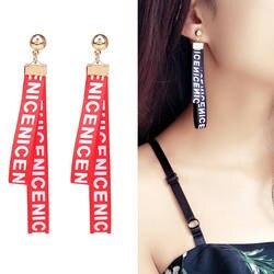 2019 Новинка; Лидер продаж 1 пара Изящные уха подарки Для женщин уникальные серьги свадьба тканые характер письма лента из ткани серьги