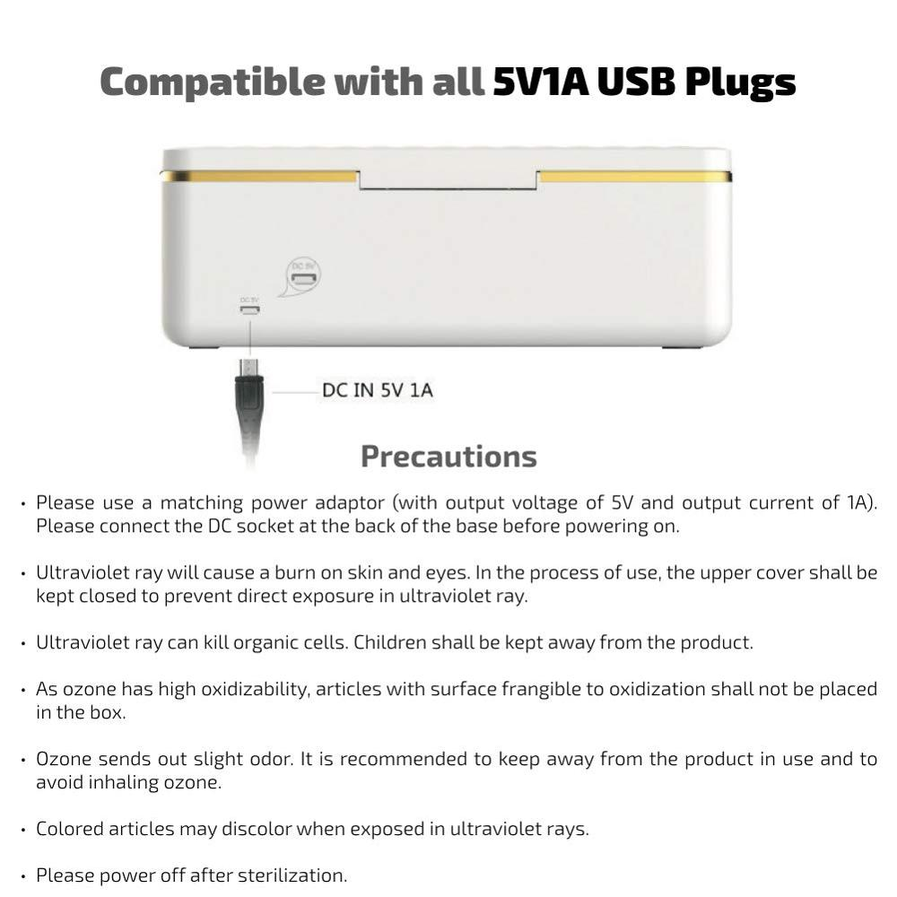 UV Light Sterilizer Box, Portable Ultraviolet Light Sanitizer Box with Germicidal Lamp for Cellphone, Pacifier, Toothbruh USB