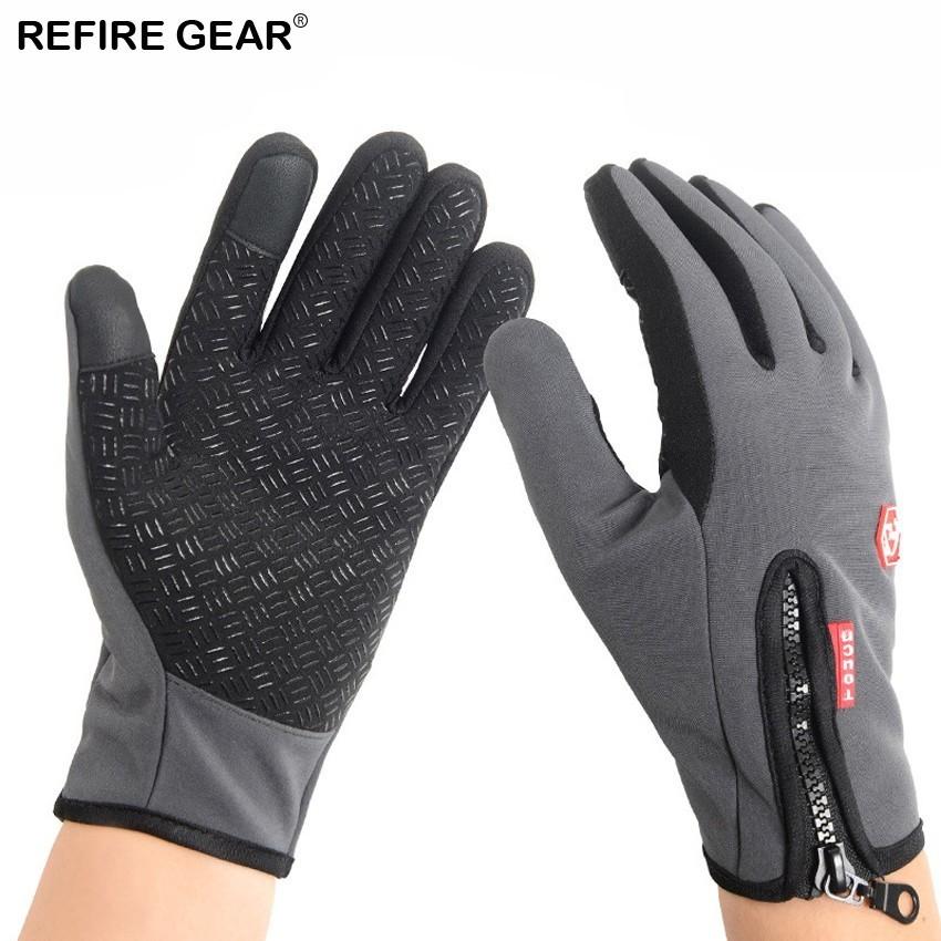 Refire Gear Winter Thermal Fleece Touch Screen Gloves Unisex Outdoor Sports Hiking Camping Skiing Cycling Full Finger Gloves