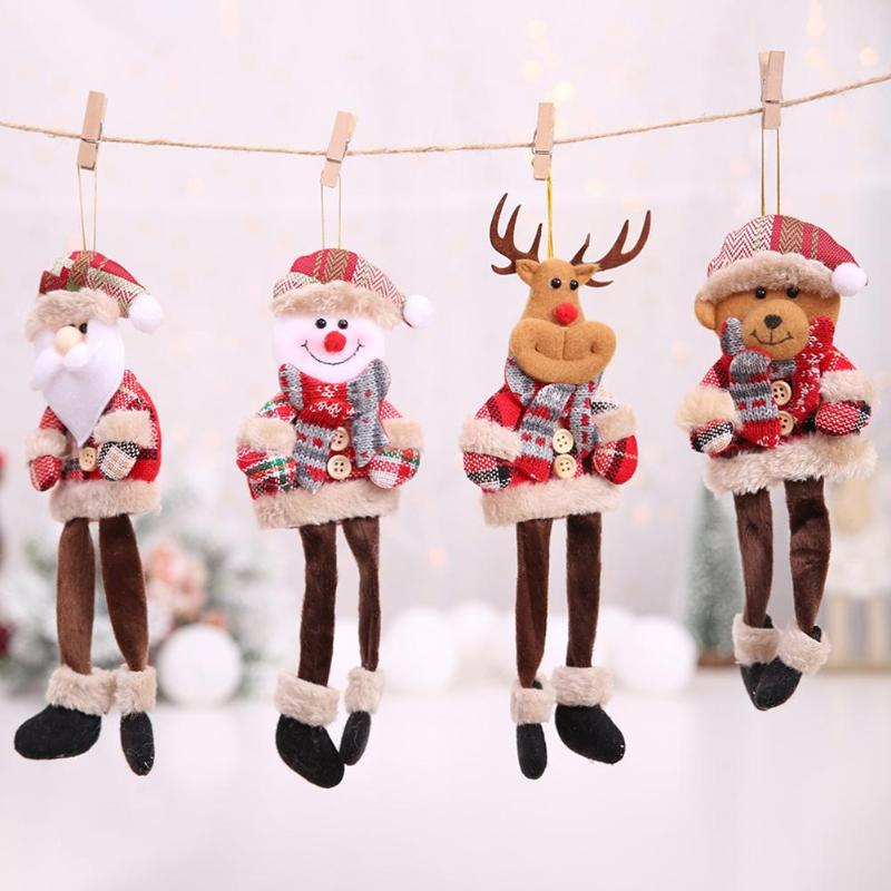 Merry Christmas Santa Claus Snowman Reindeer Pendant Toys Xmas Tree Hanging Plush Toys For Children Christmas Decorations Gifts