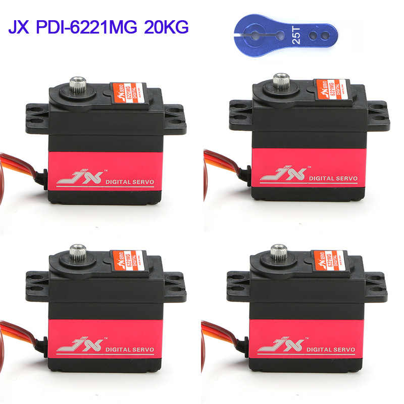 1 / 4PCS JX PDI-6221MG 20KG Large Torque Digital Coreless Servo Aluminium Metal Gears For RC Airplane Car Helicopter Part