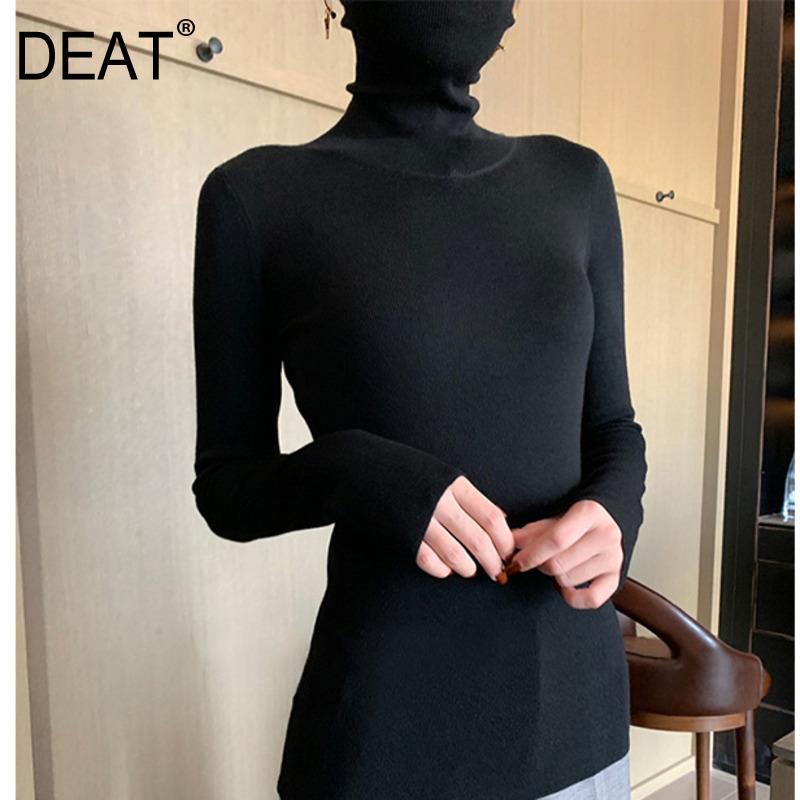 DEAT 2019 New Spring Fashion High Turtleneck Full Sleeves Cashmere High Quality Undershirt Women See-through Sexy Top WD45101