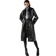 Модные, пикантные Grim удобные стиль нежный связать классический пояс узлом разделение кожа Тренч дизайн концепция