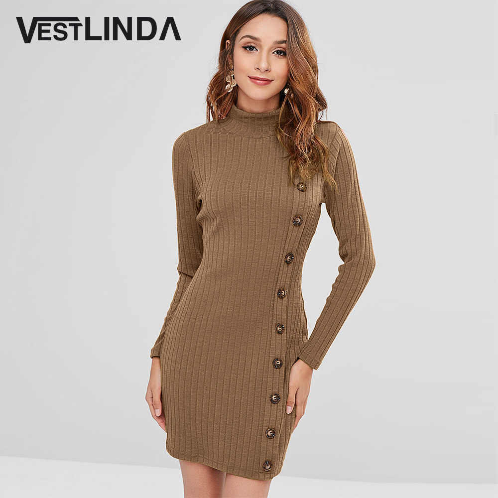 115d4a371a Sweater Dress Turtleneck Buttons Knitted Dress Women Solid Long Sleeve Slim  Fitted Tight Bodycon Dress Mini