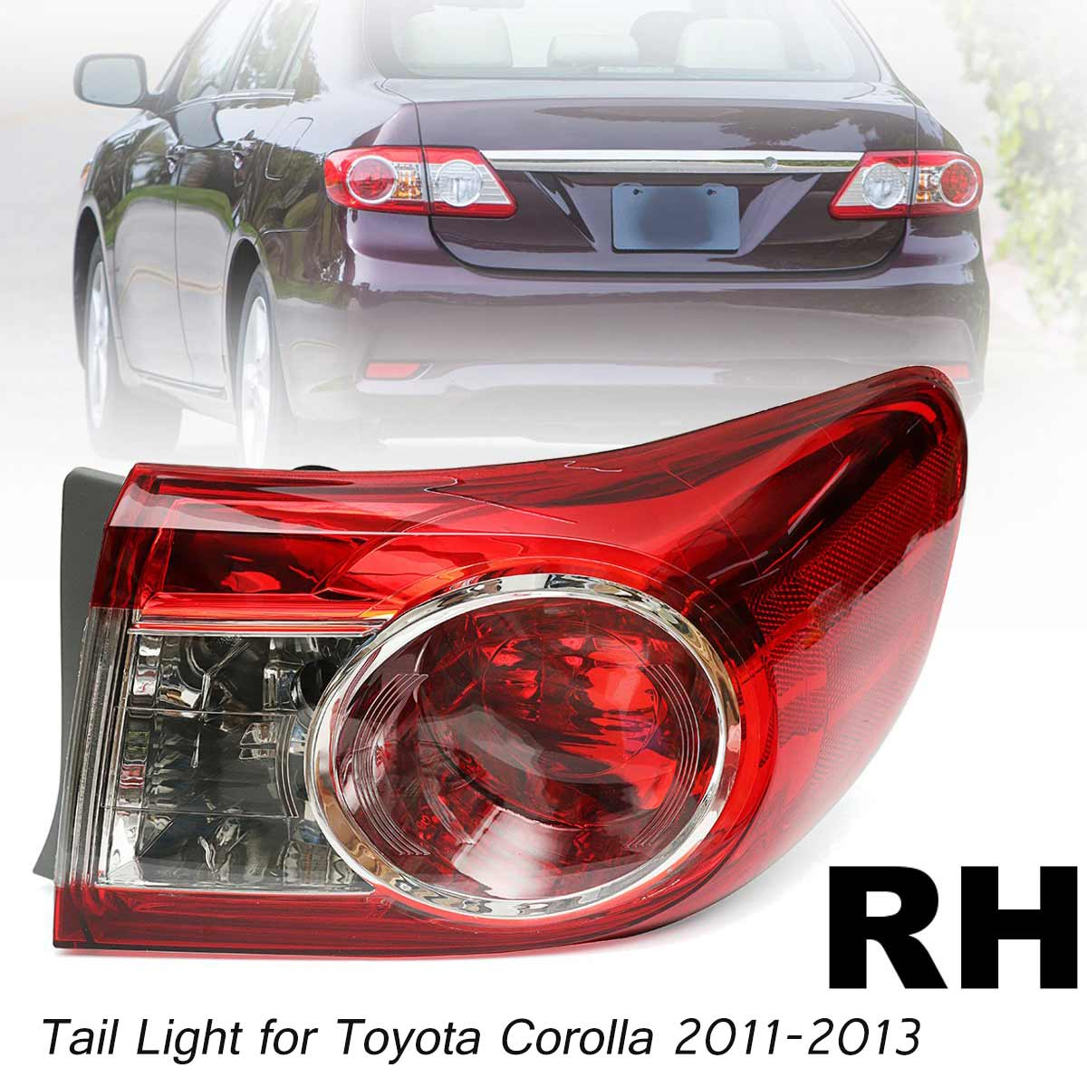 Driver Side Toyota Corolla Replacement Tail Light Assembly on Body