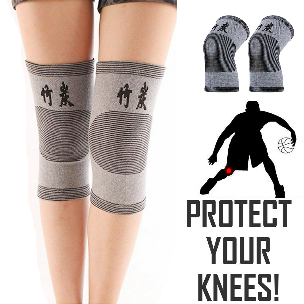 1Pair Bamboo Charcoal Knee Pads <font><b>Sport</b></font> Safety Kneepads Protector Support Elastic Leg Arthritis <font><b>Injury</b></font> Gym Keep Warm Men Women image