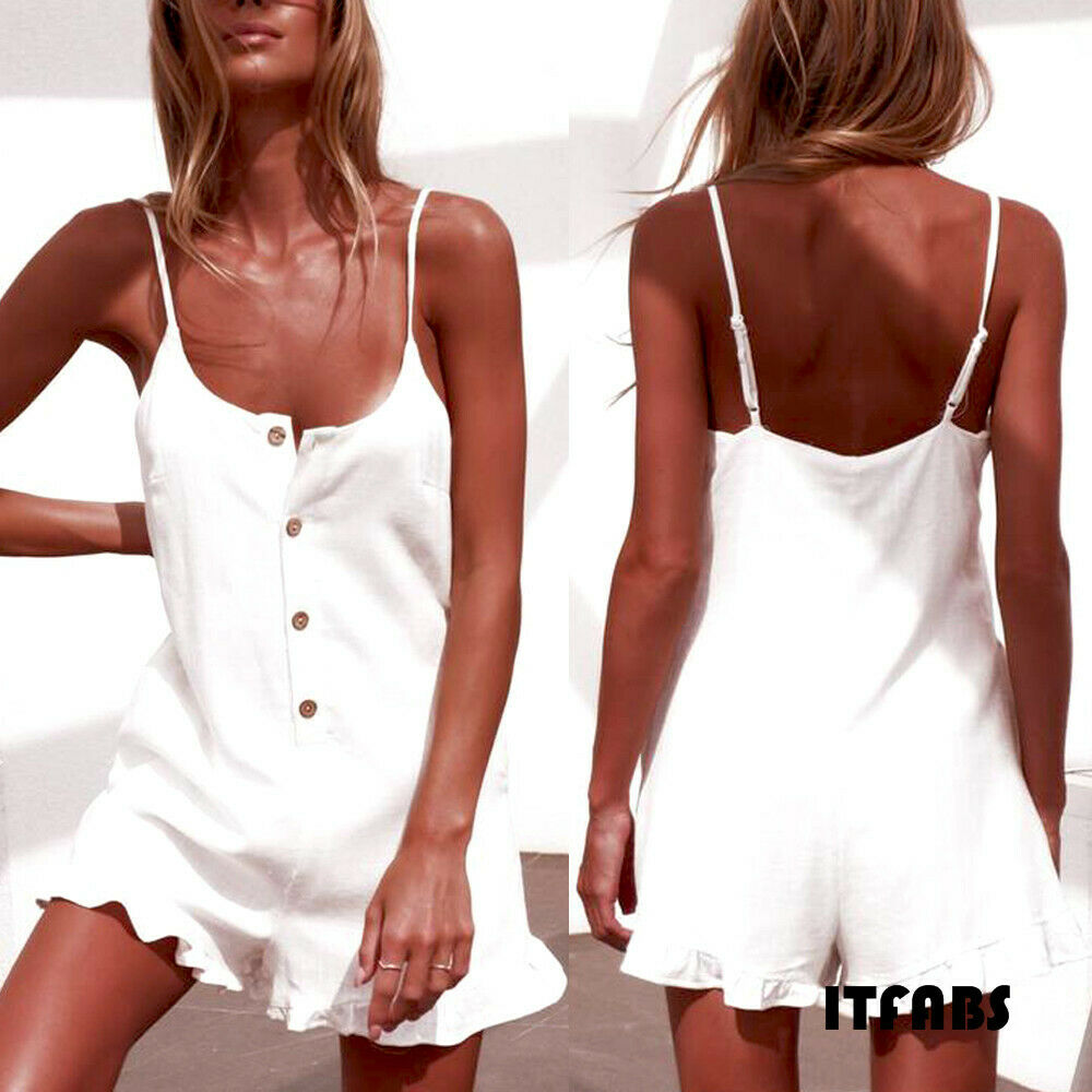 Women Clubwear Solid Casual Button Sleeveless  Ruffles Holiday   Bodycon Party Jumpsuit&Romper Trousers