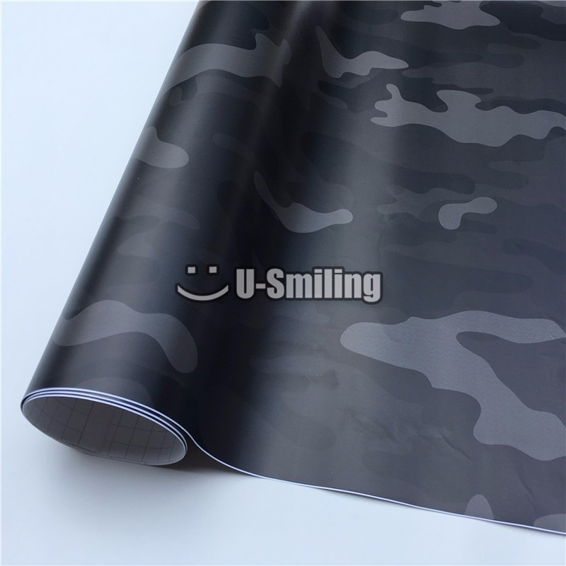 Urban Midnight Black <font><b>Camouflage</b></font> Car Vinyl Wrap Film Roll Foil <font><b>Sticker</b></font> Sheet Bubble Free <font><b>Bike</b></font> Console Computer Motor image