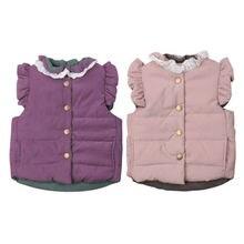 От 0 до 4 лет зимнее теплое пальто для новорожденных девочек жилет без рукавов с рюшами и бантом безрукавка жилет верхняя одежда для малышей