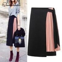 Queechalle 2019 Summer Skirt Chiffon Fold Patchwork Loose Straight Skirt Women Ties Waist Asymmetrical Casual Skirt Black Blue
