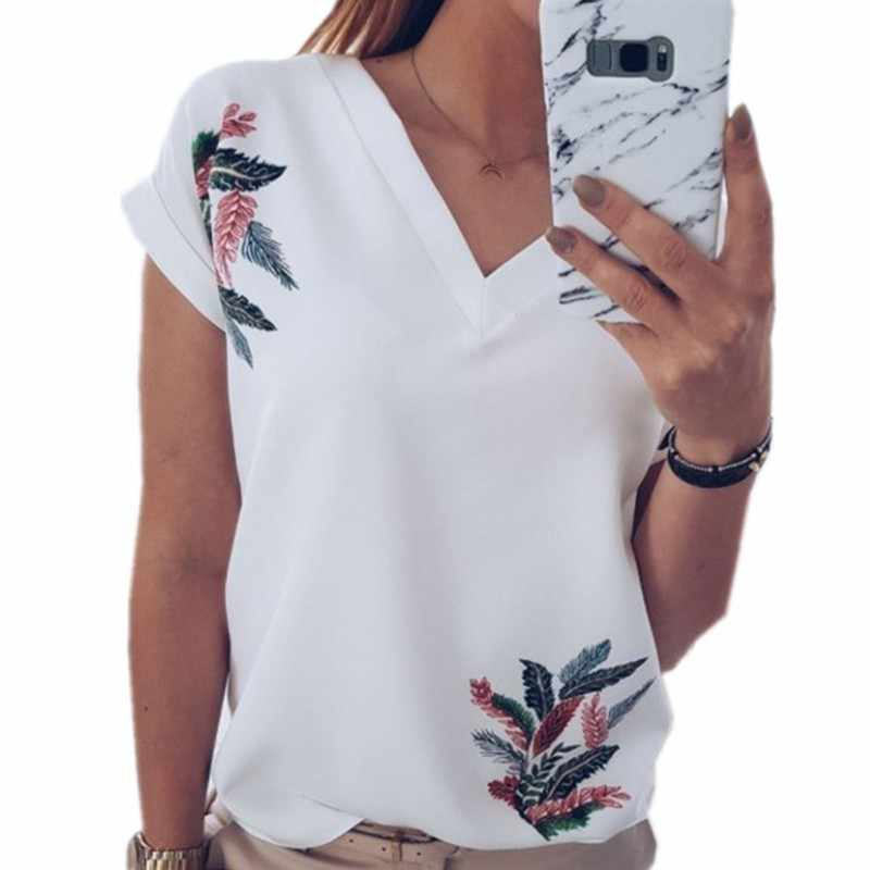 White T Shirt Leaf Print Tshirts Cotton Women V-Neck Short Sleeve Gray Pink Tops Camisas Mujer Fashion Tee Shirt Femme T43
