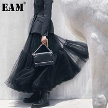 [EAM] Новинка Весна Лето высокая эластичная талия черная сетчатая многослойная юбка с разрезом, темпераментная юбка средней длины Женская мода JS659