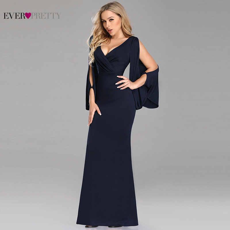 d486ca918f4 Elegant Long Prom Dresses 2019 Ever Pretty Navy Blue Mermaid V Neck Long  Sleeve Sexy Wedding