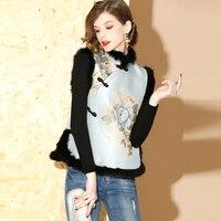 SHENG COCO Sleeveless Vest Cheongsam Tops Jacquard Chinese Style Winter Cheongsam Vest Cotton Clip Fur Collar Tang Autumn Winter