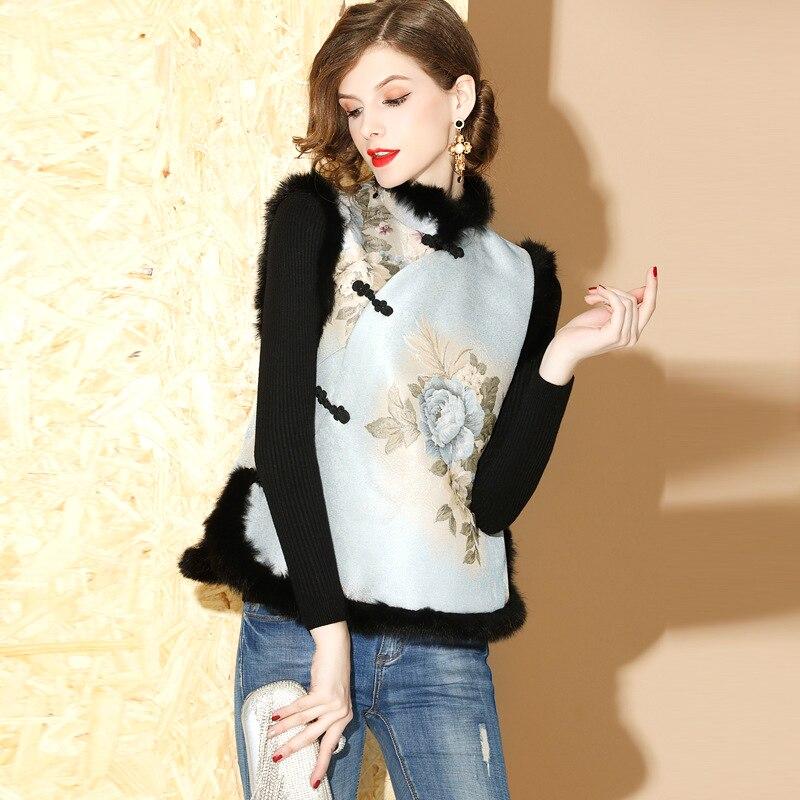 SHENG COCO gilet sans manches Cheongsam hauts Jacquard Style chinois hiver Cheongsam gilet coton Clip col de fourrure Tang automne hiver