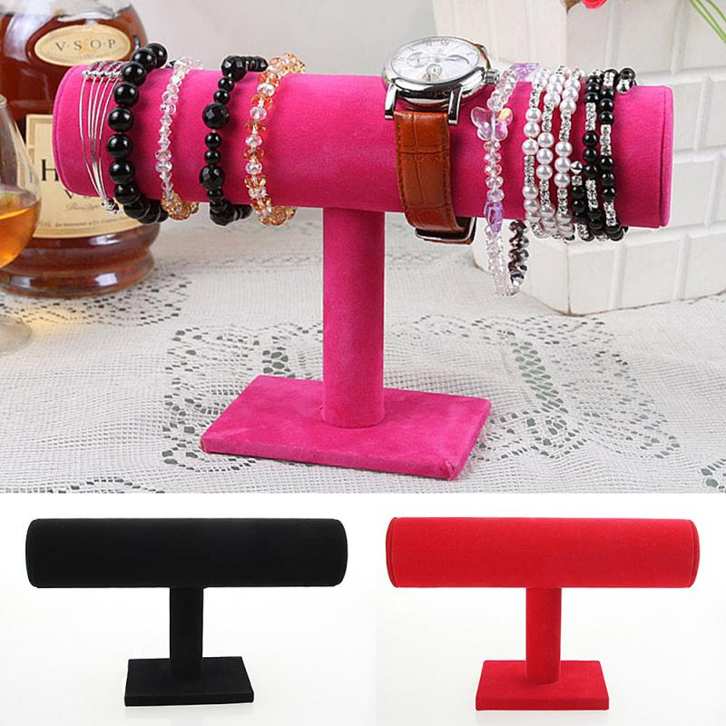 1PC Jewelry Holder T-Bar Storage Rack Velvet PU Leather Holder Jewelry Organizer Jewelry Stand For Bracelet Chain Watch