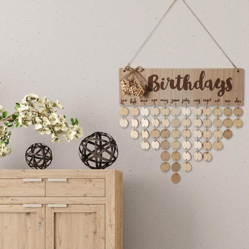 VODOOL DIY Wooden Round Plates Wall Hanging Calendar Sign Special Date Birthday Reminder Board Home Decor Wooden Wall Calendar