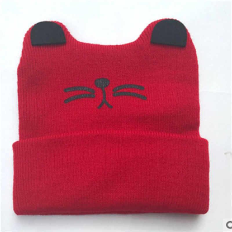 CANIS шапка для новорожденных; зимние детские Дети для мальчиков и девочек вязаный кот крючком ушками теплая шапочка-бини Кепки Bebe Шапки карта милые модные кепки