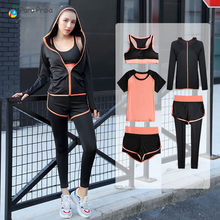 5 piece sports wear for women gym yoga set women Tracksuit for Women Gym Workout Crop Top Women Fitness Clothing(China)