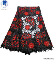 BEAUTIFICAL nigerian guipure lace fabric stoned cord lace 5yards/lot lace fabric with rhinestone black and red pattern ML38G28