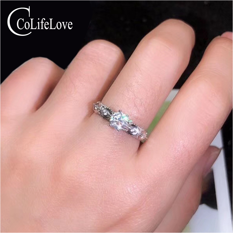 CoLife Jewelry Dazzling 925 Silver Moissanite Ring for Party 0 5ct Real VVS Moissanite Ring Sterling