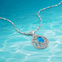 Quality Product Round Pendants Necklace. Real 925 Sterling Silver Necklace for Woman Shiny Blue Crystal Zircon Romantic Gift