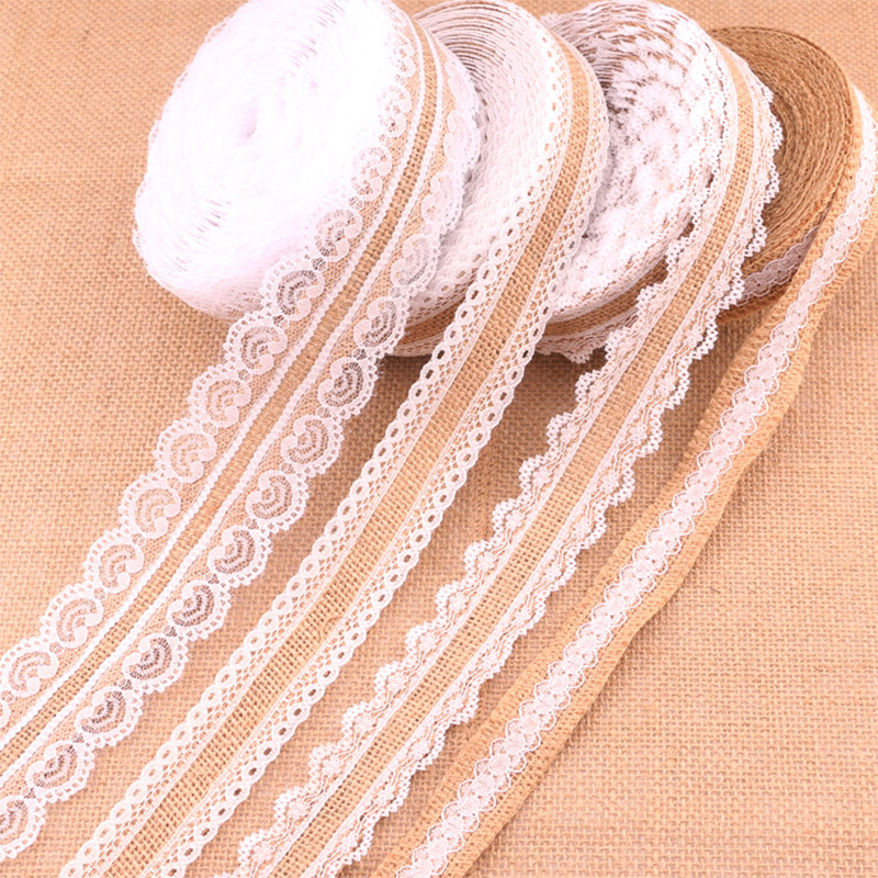 Natural Jute DIY Wedding Decoration Rustic Vintage 1Meter Lace Ribbon Trim Edge Hessian High Quality With White Lace Burlap 25mm