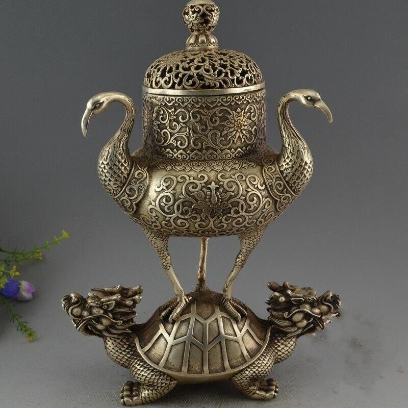 Rare chine Antique vieux tibétain argent Dragon tortue grue brûleur d'encens encensoir