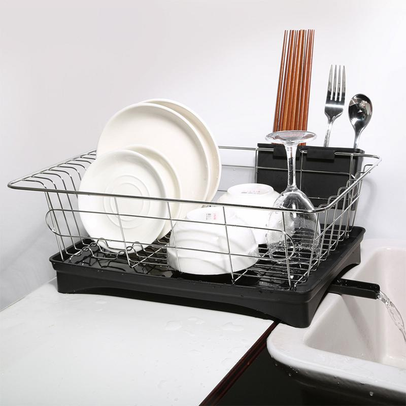 Stainless Steel Single Layer Drain Dish Rack Double Layer Kitchen Dishware Storage Stand #CW