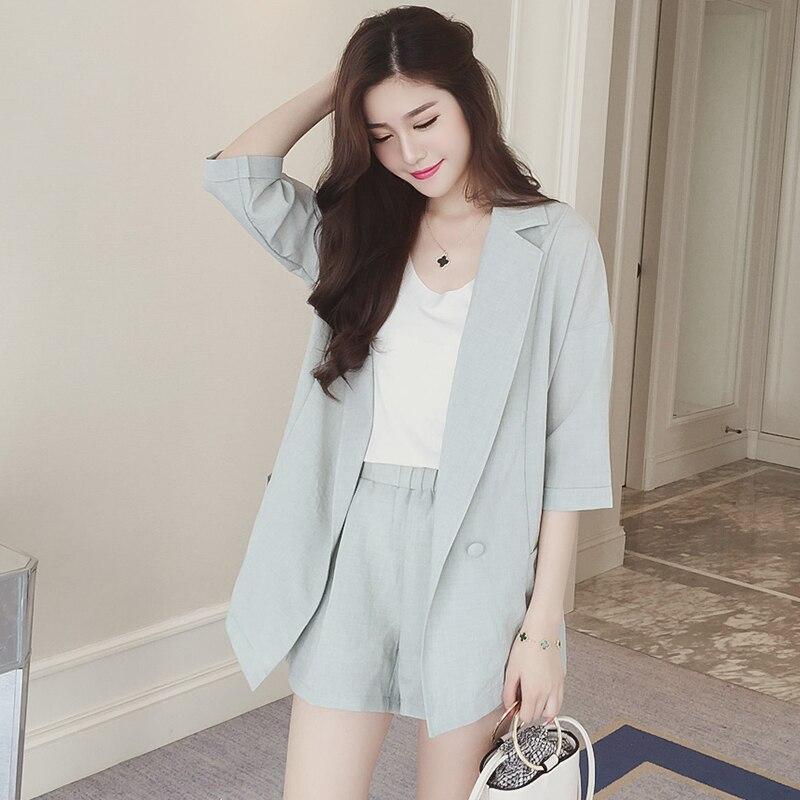cb848dc5e64 2 шт Для женщин костюм с шортами из хлопка и льна Блейзер женские офисные  куртка с