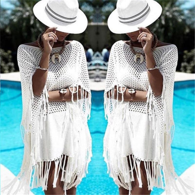Women Tassel Rents Crochet Bikini White Tops Brazilian Cover Up Swimwear Beach Dress Mini Kaftan Beachwear Tunic Sexy Swimsuit 2