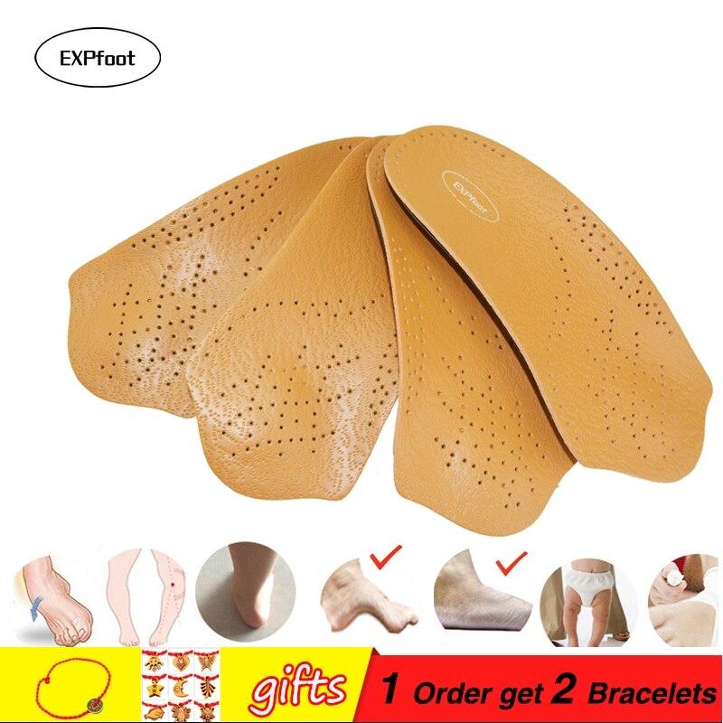 EXPfoot 3/4 longueur semelle intérieure En Cuir Plat Pied semelles Orthopédiques Arch Support 2.5 cm Moitié De Chaussures Orthopédiques Pad Semelles Soins Des Pieds