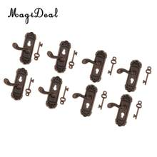 8 Pieces 1/12 Scale Dollhouse Miniature Vintage Door Locks Keys Right Left Handles DIY Scene Accessories(China)