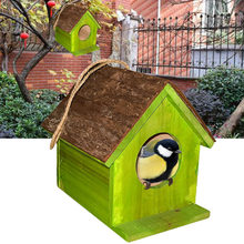 House Shape Outdoor Home Decor Eco-friendly Hemp Rope Hanging Cage Tree Garden Bird Nest Cabin Diy Wooden Simulated Bark Bird Cages & Nests Bird Supplies