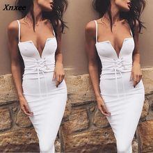 2018 Fashion Slim Sling Sexy Dresses Women Clothing Sleeeveless Solid V Neck Bandage Summer Vestido Female Clothes S M L XL