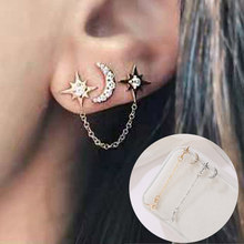 Fashion Indah Emas Stainless Steel Double Bulan Bintang Anting-Anting Anting-Anting untuk Wanita Korea Anting-Anting Set 3 Lubang Telinga Perhiasan Aksesoris(China)