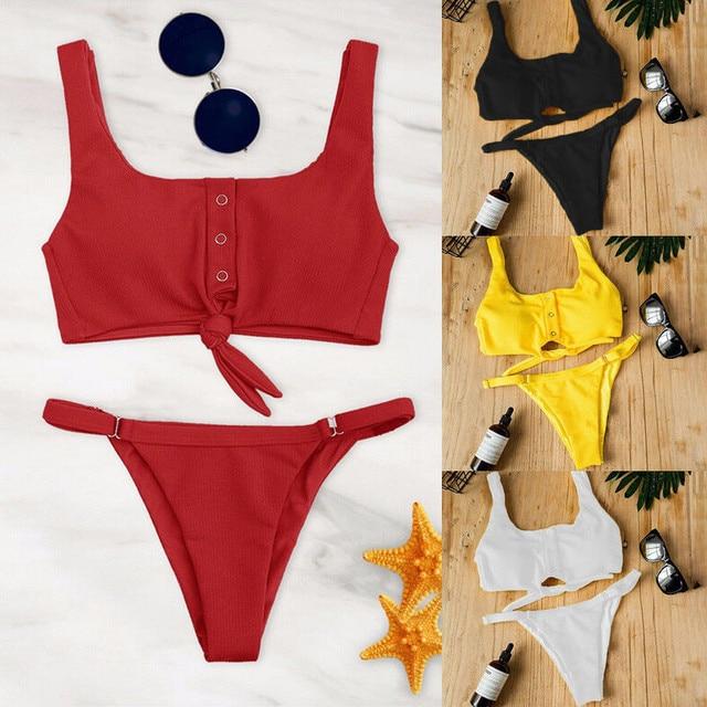 Women Bandage Ruffle Lace Up Bikini 2020 Solid Plaid Push-up Bikini Set Padded Bra Swimsuit Swimwear Bathing Suit Biquini Bather 2