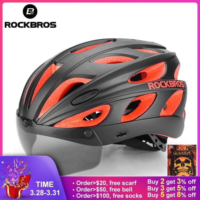 8f0451ae677c3 ROCKBROS Óculos de Bicicleta Capacetes Integralmente-moldado Ultraleve MTB  Mountain Road Ciclismo Bicicleta Capacetes Com