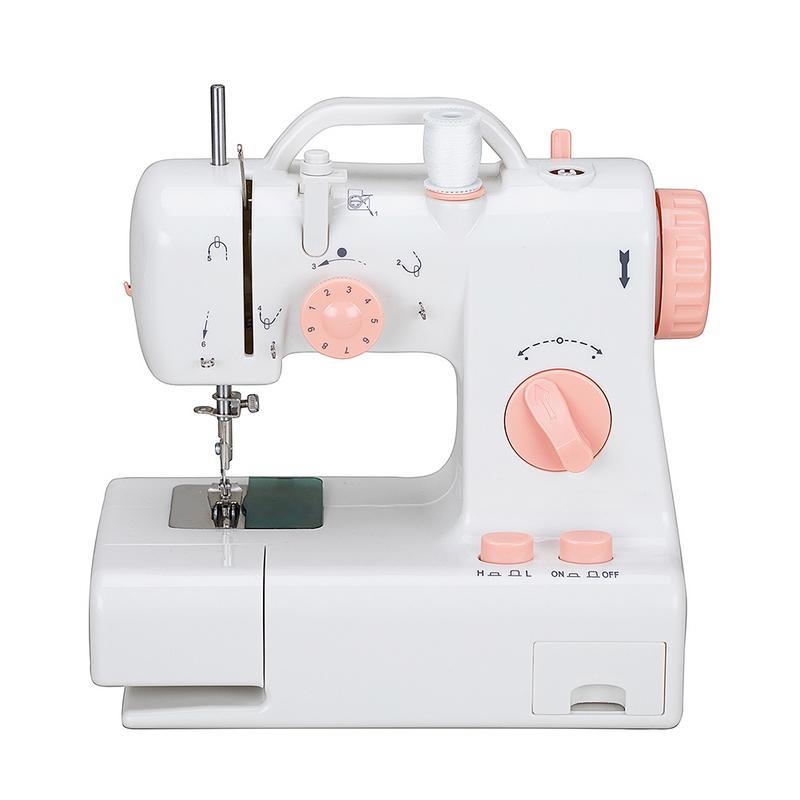 Mini Household Sewing Machine Multifunctional Stitching Machinery With Lamp Cutter Double Threads Pendal Sewing Machine