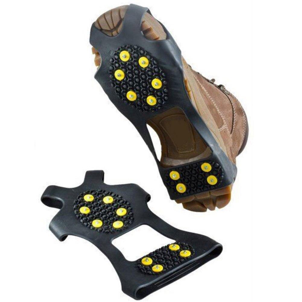 1 Paar 10 Studs Anti-skid Schnee Eis Klettern Schuh Spikes Grips Steigeisen Stollen Überschuhe Stollen Kette Krallen Griffe Stiefel Abdeckung