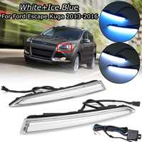 Car Led Drl For Ford Escape Kuga 2013 2014 2015 2016 White Blue Light Daytime Running Light Driving Fog Lamp Accessories