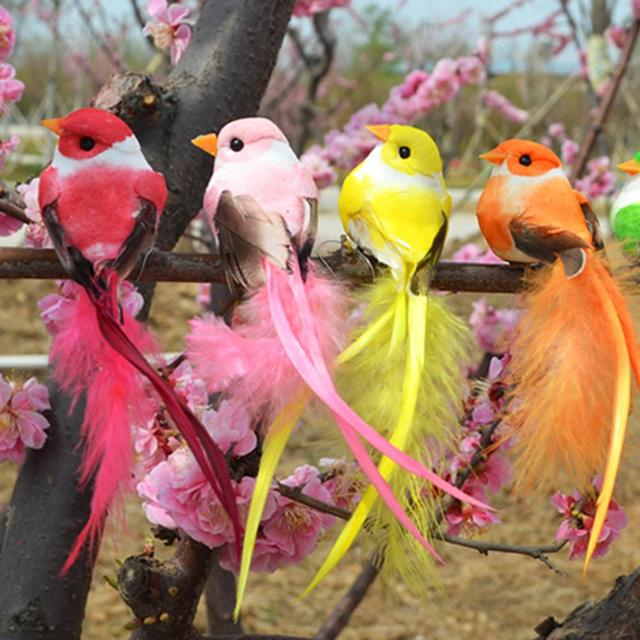 Artificial Foam Feather Bird Figurine Ornament Lawn Yard Garden Tree Decoration