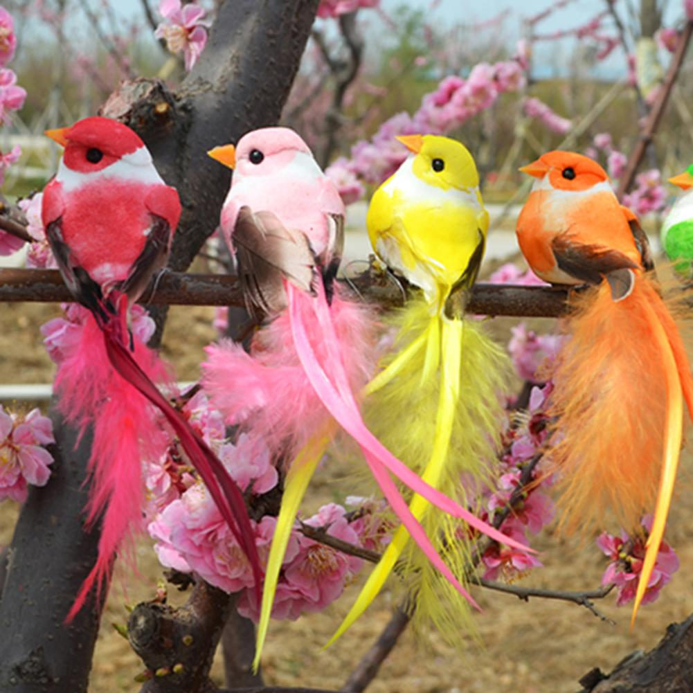 Artificial Foam Feather Bird Figurine Ornament Lawn Yard Tree Decoration Outdoor Bird Resin Garden Decor Sculptures Drop-Shipper