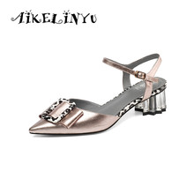 AIKELINYU 2019 New Fashion Strange Heel Pointed Toe Women Pump Classic Design Genuine Leather Party Wedding Summer Sandals Woman