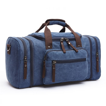 Hot Deals Blue Soft Canvas Men Travel Bags Carry On Luggage Bags Men Duffel  Bag Travel Tote Large Weekend Bag Overnight High Capacity 65c5c1bd408e1