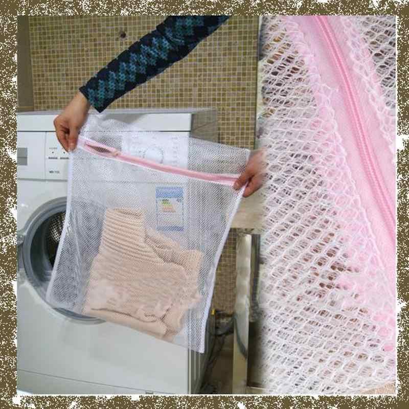 Máquina de Lavar roupas Bra Aid Lavanderia Lingerie Malha Net Wash Bag Bolsa Cesta 30x40 cm E5M1