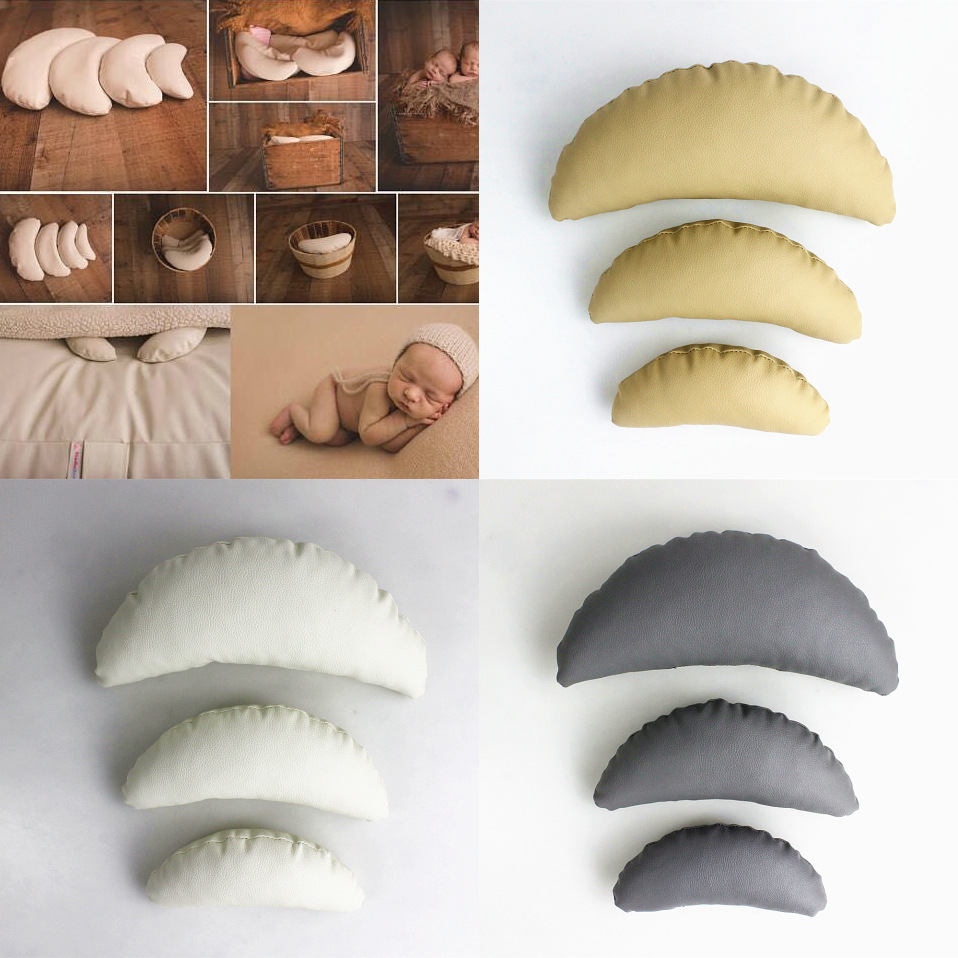3Pcs/Set Newborn Photography Props Crescent Pillow Baby Accessories Moon Pillow Baby Photo Props Studio Infant Fotografia Prop