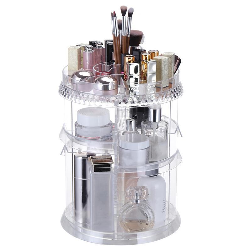 Diamond Texture 360 degree Rotating Makeup Organizer Box Brush Holder Jewelry Organizer Case Jewelry Makeup Cosmetic Storage Box