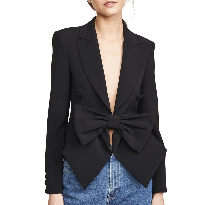 2019 été haute couture noir Blazer femmes à manches longues manteau Bowknot conception crantée col Blazers