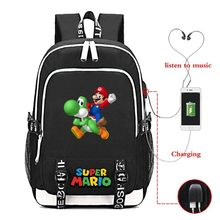 Super Mario 6-10 Design USB Charging Laptop Shoulder Bag Women Backpack Travel Black Blue Sac A Dos Mochila Mujer Schoolbag(China)